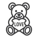 Teddy bear with heart line icon, valentines day Stock Photography