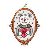 Teddy bear with heart present. Sketch vector design element for Valentine's day Stock Photos
