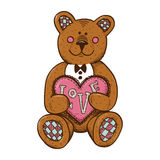 Teddy bear with heart present. Stock Images