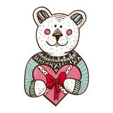 Teddy bear with heart present. Sketch vector design element for Valentine's day Stock Image