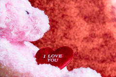 Teddy Bear with Heart. On red background,concept valentine Stock Photos