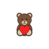Teddy bear heart solid icon, soft toy. For Valentines day, vector graphics, a colorful linear pattern on a white background, eps 10 Stock Photography