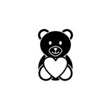 Teddy bear  heart solid icon, soft toy. Teddy bear heart solid icon, soft toy for Valentines day, vector graphics, a filled pattern on a white background, eps 10 Royalty Free Stock Photo