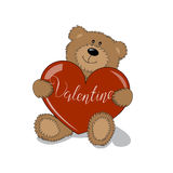Teddy Bear with heart. Valentines Day Lettering Card element. Stock Image