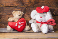 Teddy bear and a heart with the words I love you Stock Images