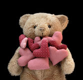 Teddy bear with hearts Royalty Free Stock Photo