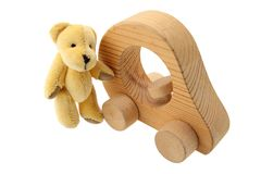 Teddy bear with his car Royalty Free Stock Image