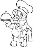 Teddy bear and his signature dish stock illustration