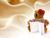 Teddy bear hold a notes. With fabric background Stock Images
