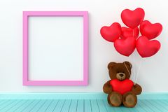 Teddy bear holding balloon heart sharp. A photo of Teddy bear holding balloon heart sharp with blank board for copy space, 3D rendering with blender freeware Royalty Free Stock Photo