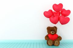 Teddy bear holding balloon heart sharp. A photo of Teddy bear holding balloon heart sharp with white background, 3D Rendering with blender freeware Stock Images