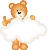 Teddy bear holding blank cloud Royalty Free Stock Images