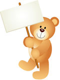 Teddy Bear Holding Blank Signboard Stock Image