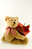 Teddy Bear Holding Container of Roses. Light brown teddy bear with plaid bow holding transparent container of roses Stock Images