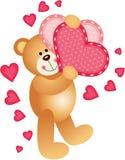 Teddy Bear Holding cuori Illustrazione di Stock