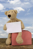 Teddy bear holding a destination card Royalty Free Stock Image