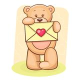 Teddy Bear holding envelope Stock Image