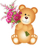 Teddy Bear Holding Flowers Royalty Free Stock Photo