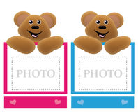 Teddy bear holding frame Royalty Free Stock Photography