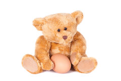 Teddy bear holding a fresh egg Stock Image