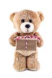 Teddy bear holding a gift box. A photo of Teddy bear holding a gift box on white isolate background Stock Photography