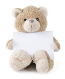 Teddy bear holding greeting card Royalty Free Stock Photo