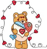 Teddy bear holding a handmade heart. Scalable vectorial representing a teddy bear holding a handmade heart, element for design, illustration isolated on white Stock Photos