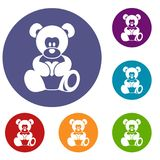 Teddy bear holding a heart icons set. In flat circle red, blue and green color for web Stock Photo