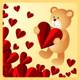 Teddy bear holding heart on love background Royalty Free Stock Images