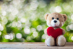 Teddy bear holding a heart-shaped pillow Royalty Free Stock Photo