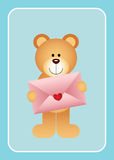 Teddy bear holding love envelope. Scalable vectorial image representing a teddy bear holding love envelope on blue bacground Royalty Free Stock Image