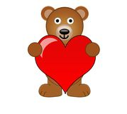 A Teddy Bear Holding A Love Heart.  vector illustration