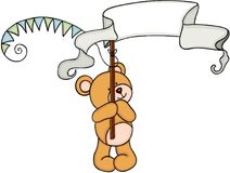 Teddy bear holding a party banners. Scalable vectorial representing a teddy bear holding a party banners, element for design, illustration isolated on white Stock Image