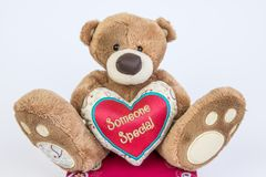Someone special. Teddy bear holding red pillow heart with text Someone Special, isolated on white background. Valentine`s Day Stock Photo
