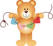 Teddy Bear Holding String Hearts illustration stock