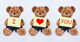 Teddy bear holding a  yellow sign saying I love you  on white background Royalty Free Stock Photography
