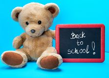 Teddy bear holds red frame with words written in white chalk back to school stock photo