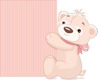Teddy Bear Holds Sign Fotografie Stock
