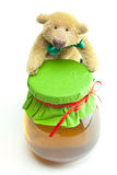Teddy bear and honey Stock Image