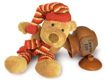 Teddy Bear with Honey Pot Stock Photos