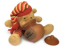Teddy Bear with Honey Pot Stock Image