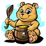 Teddy bear with honey vector illustration. Cute teddy bear with a barrel of honey and a spoon Vector Illustration Stock Photography