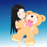 Teddy bear hug. The girl Hug the big teddy bear with vector graphic Royalty Free Stock Images