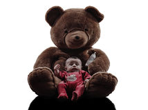 Teddy bear hugging baby sitting silhouette Stock Image