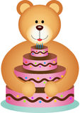 Teddy Bear Hugging Birthday Cake Fotografia Stock Libera da Diritti
