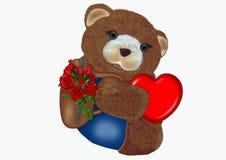 A teddy bear hugs a heart. A teddy bear with his backpack full of roses, hugs a heart Stock Photo