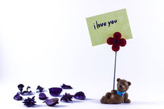 Teddy Bear with I Love You Stock Photos