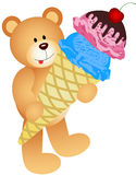 Teddy Bear with Ice Cream Cone Royalty Free Stock Photography