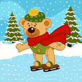 Teddy bear on ice skates Stock Image