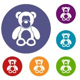 Teddy bear icons set. In flat circle reb, blue and green color for web Royalty Free Stock Images